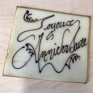Inscription sur pâte d'amande