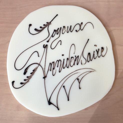 Inscription sur chocolat blanc